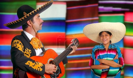 Photo for Mexican mariachi charro man and poncho Mexico girl serape colorful background - Royalty Free Image