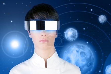 Photo for Silver futuristic glasses android woman portrait space planets blue background - Royalty Free Image