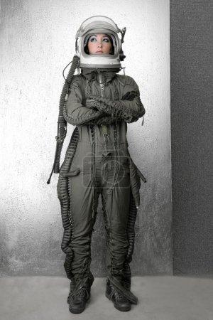 Astronaut fashion stand woman space suit helmet