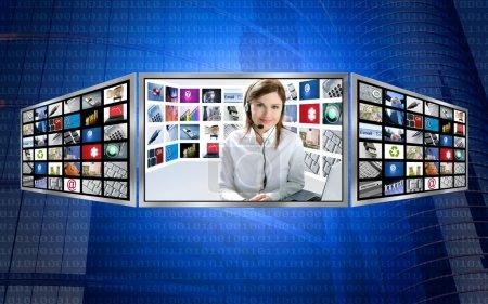 Beautiful news tv redhead woman on 3d display