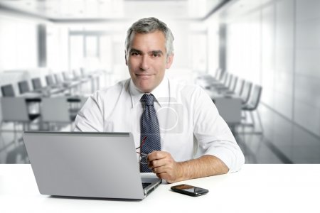 Photo for Businessman senior gray hair working laptop interior modern white office - Royalty Free Image