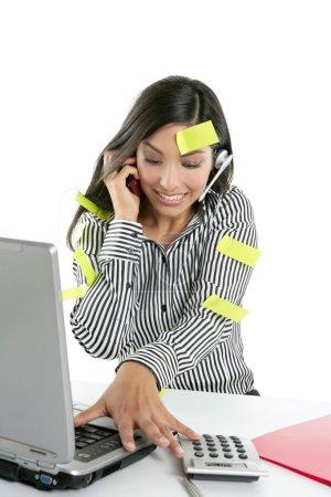 Brunette secretary bussy stressed over white