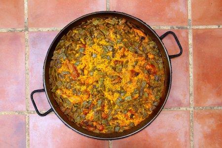 Paella rice recipe Mediterranean Spain round pan