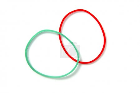 Two color circle rubber bands intersection