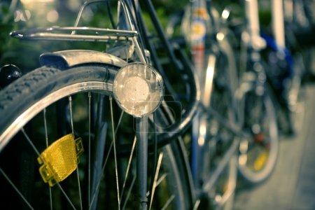 Night bicycle retro image, selective focus