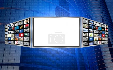 Photo for Global 3d screen multimedia monitor tech concept, white copy space - Royalty Free Image