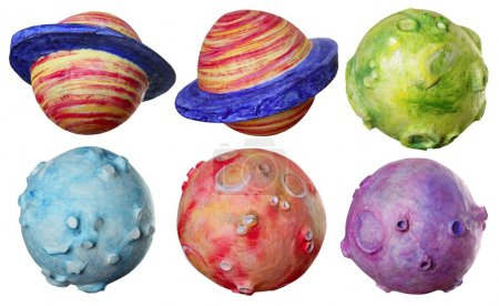 Space fantasy six planets handmade colorful