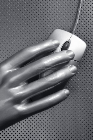 Photo for Computer wired gray mouse silver aluminum hand futuristic - Royalty Free Image