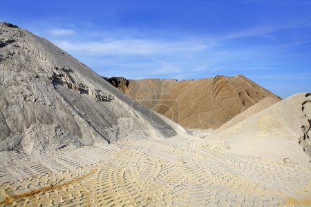 Sand quarry mounds of varied sands color