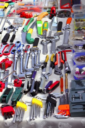 Photo for Bargain hardware hand tools in second hand market store - Royalty Free Image