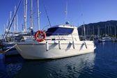 Motorboat in blue Mediterranean marina