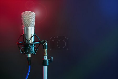 Microphone in the night colorful light