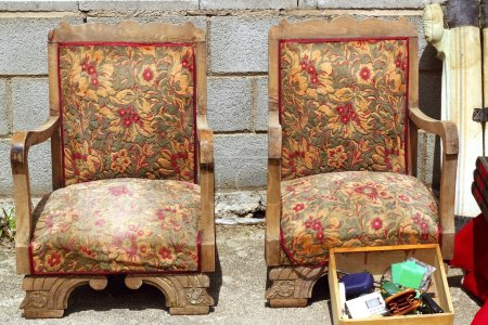 Armchairs couple on fair market outdoor vintage