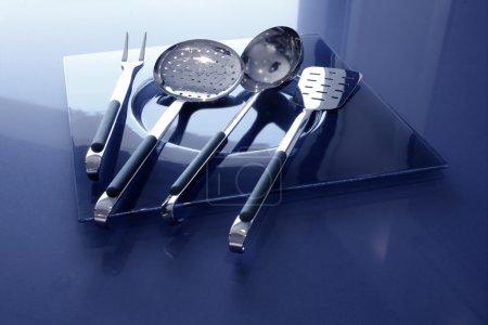 Kitchenware kitchen utensils blue and stainless steel