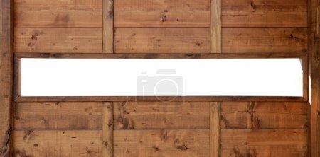 Photo pour Mur de fenêtre en bois avec espace de copie panoramique - image libre de droit