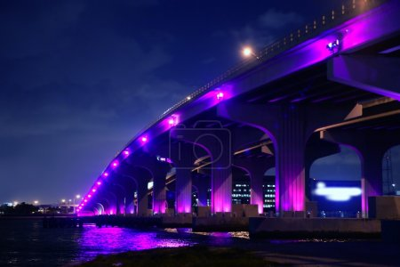 Photo for Miami florida bridge night view A1A Mac Arthur Causeway - Royalty Free Image