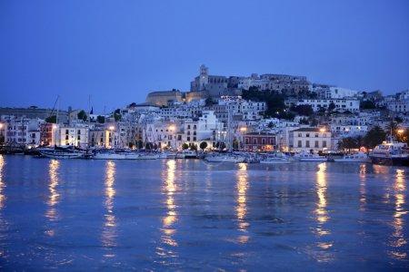 Ibiza island night harbor in Mediterranean