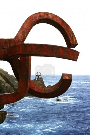 Chillida rusty steel sculpture in San Sebastian