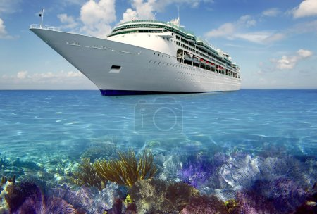 Photo for Caribbean reef view with cuise vacation boat travel - Royalty Free Image