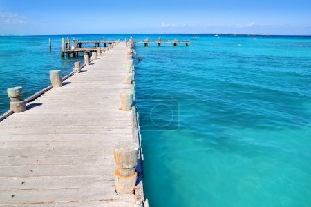 Cancun wood pier in tropical Caribbean sea