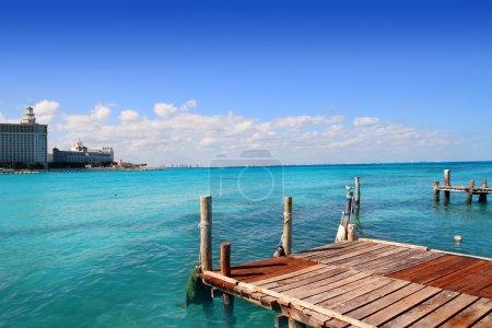 Cancun wood pier tropical Caribbean sea
