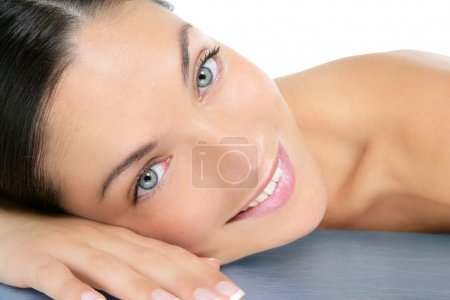 Photo for Beautiful clean cosmetics woman close up portrait over white - Royalty Free Image