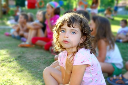 Girl spectator little children looking show outdoor park