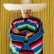 Постер, плакат: Mexican man typical poncho sombrero serape