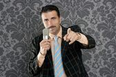 Nerd businessman microphone leader point finger