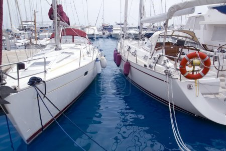 Marina sailboats in Formentera Balearic Islands