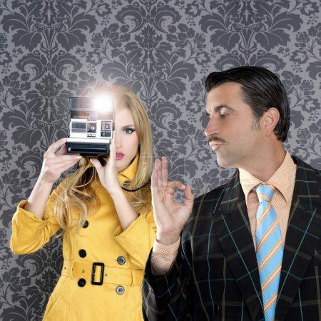 Geek mustache man reporter fashion girl photo shoot