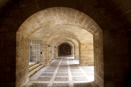 Almudaina and Majorca Cathedral tunnel arches in Palma