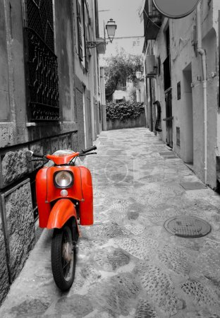 Photo for Mediterranean street with old retro red scooter in Palma de Mallorca Spain - Royalty Free Image