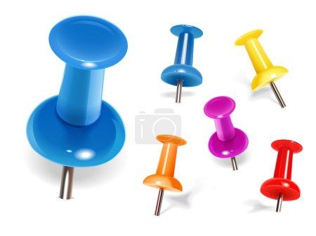 Set of color pins. Vector...