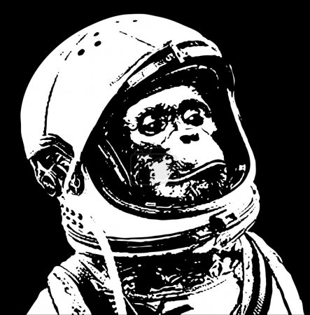 Illustration for Chimp in space stencil art - Royalty Free Image