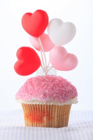 Photo for Colorful birthday cupcake on white background - Royalty Free Image