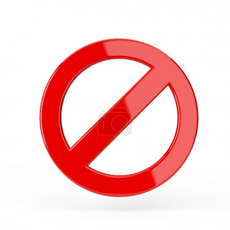 Red forbidden sign. 3d render illustration...