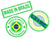 Set of grunge rubber stamp with the text made in Brazil written inside vector illustration