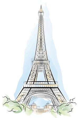 Illustration pour Dessin en couleur Tour Eiffel à Paris, France. Illustration vectorielle - image libre de droit