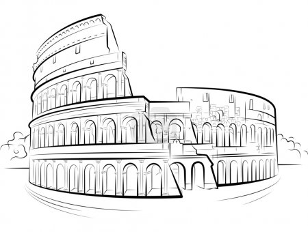 Drawing Colosseum, Rome, Italy