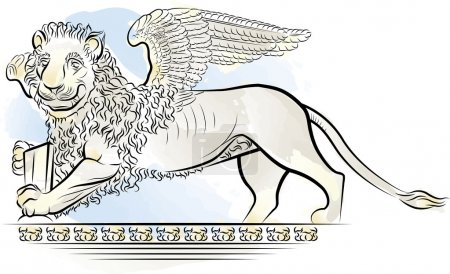 Drawing color Lion with wings - symbol of Venice, Italy