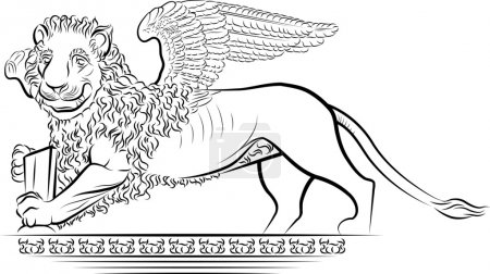 Drawing Lion with wings - symbol of Venice, Italy