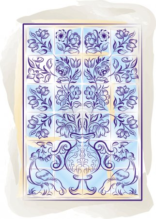 Old tiles color portuguese background