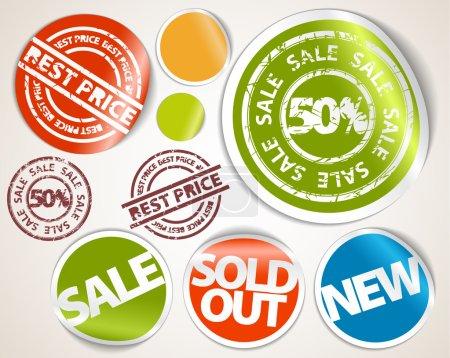 Ilustración de Conjunto de placas etiquetas y calcomanías para la venta, precio caliente, vendido, nuevos artículos - Imagen libre de derechos