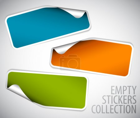 Illustration for Set of blank rectangle labels with rounded corners - Royalty Free Image