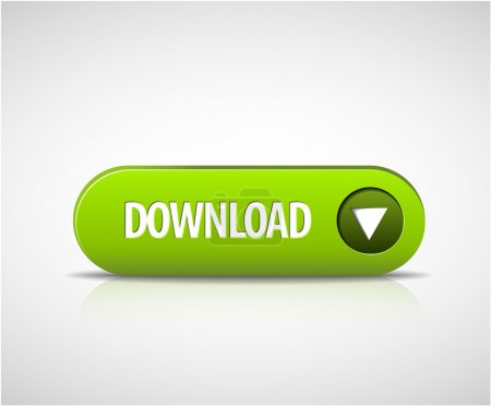 Big green download now button with shadow and refl...