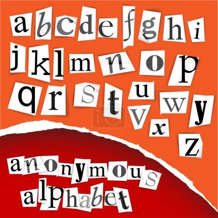 Illustration pour Coupures de presse anonyme alphabet - blanc sur fond rouge - image libre de droit