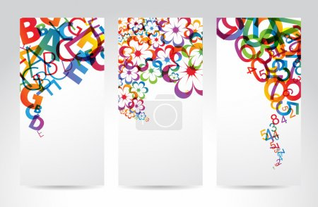 Illustration for Vertical Banners with colorful rainbow numbers, letters, flowers - Royalty Free Image
