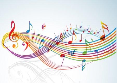 Illustration pour Thème musical - notes arc-en-ciel sur fond clair - image libre de droit