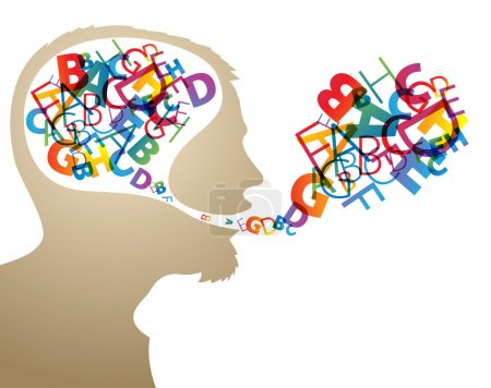 Illustration for Abstract speaker silhouette with colorful letters in the head and mouth - Royalty Free Image